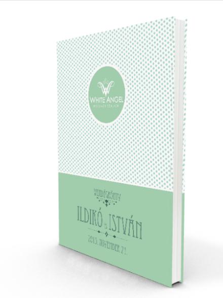Esküvői Vendégkönyv Türkiz Pöttyös - White Angel Esküvői Szalon