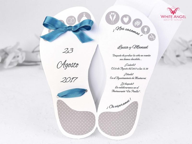 20a07bfabc Papucs esküvői meghívó - White Angel Esküvői Szalon