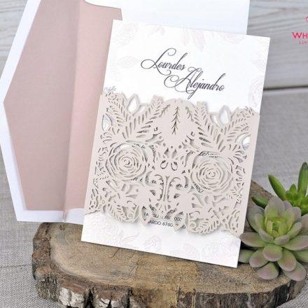 01d187dd7e Csipkés lézervágott esküvői meghívó - White Angel Esküvői Szalon