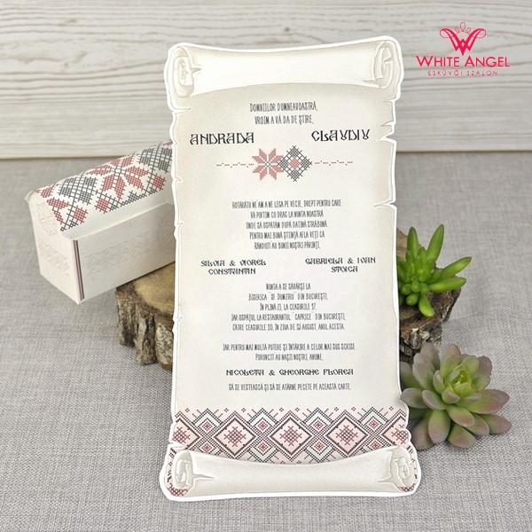 ca9a754ba7 Népi motívumos esküvői meghívó - White Angel Esküvői Szalon