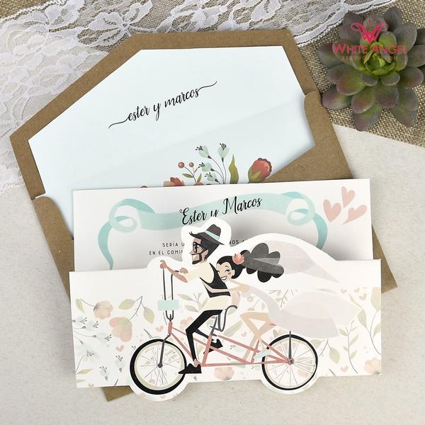 Biciklis vidám esküvői meghívó