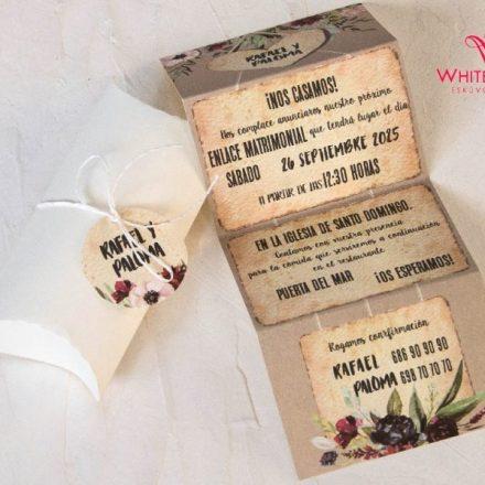 Krém dobozós esküvői meghívó