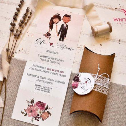 Rusztikus dobozos esküvői meghívó