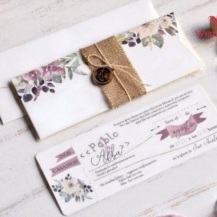 Zsák anyagos esküvői meghívó
