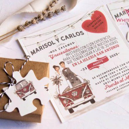 Kirakós autós esküvői meghívó