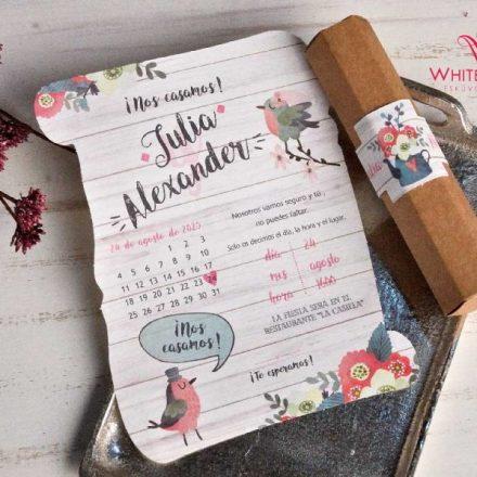 Tavaszi dobozos esküvői meghívó