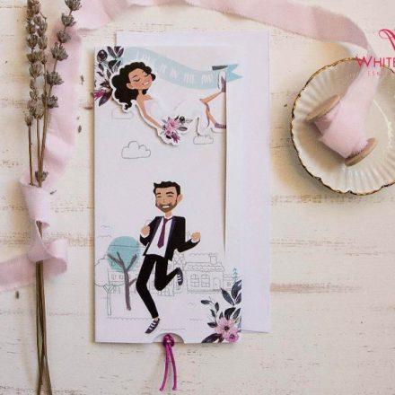 Zuhanós esküvői meghívó