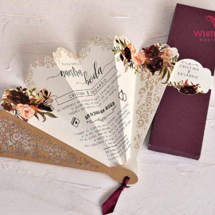 Virágos legyező esküvői meghívó