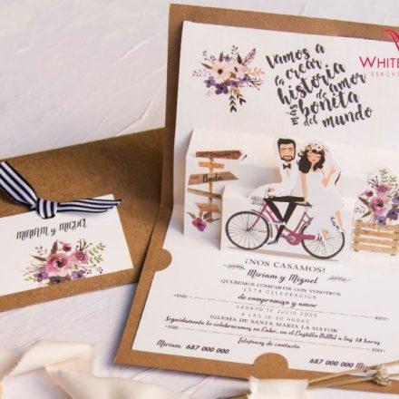 Vintage biciklis esküvői meghívó