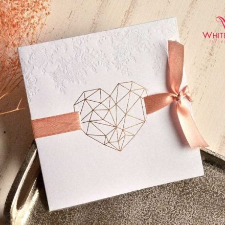 Rose gold szíves esküvői meghívó