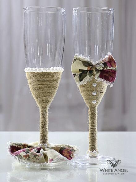 Esküvői rusztikus pezsgős pohár